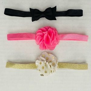 Infant @ Headband Bow set Gold Pink Black